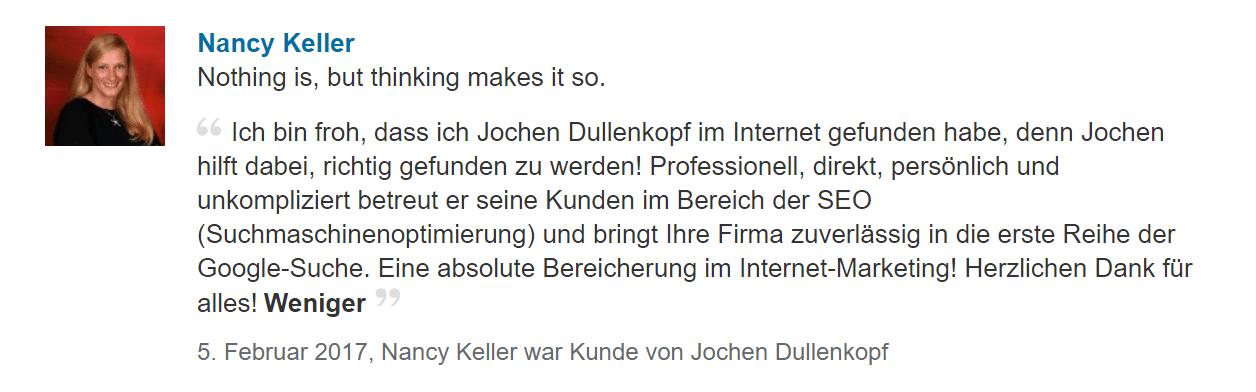 Empfehlung von Nancy KellerDullenkopf SEO Biberach Online Marketing und Werbe Agentur