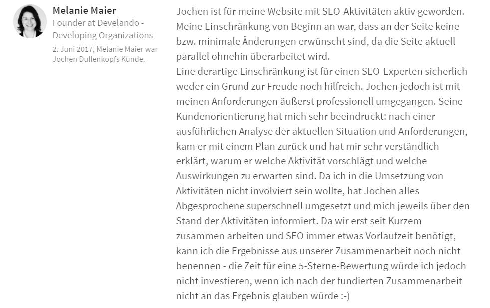 SEO Empfehlung Melanie Maier München