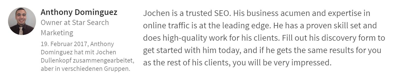 Anthony-Dominguez-Empfehlung zu Youtube Marketing Experte