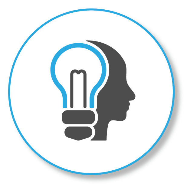 Specialized SEO Knowledge will give you success, picture shows a light bulb within a head