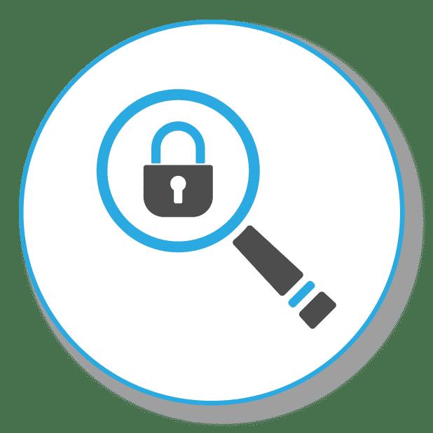Keywordanalyse, Bild zeigt eine Lupe mit Schloss zur gezielten Keywordanalyse